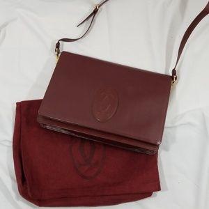 Authentic Cartier Merlot messenger crossbody bag